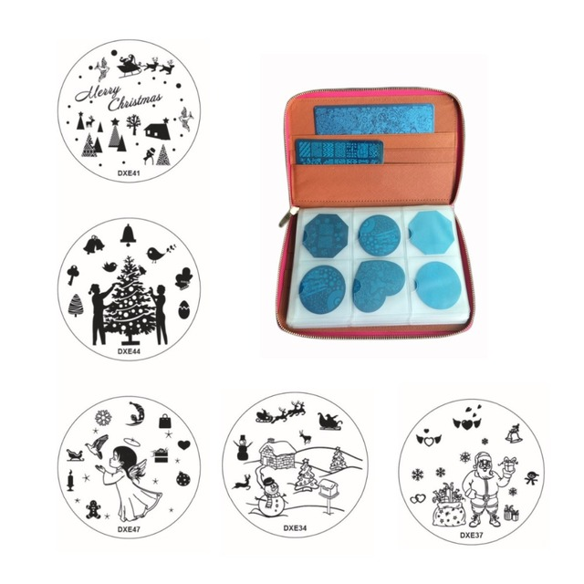 10pcs Christmas Stamping Plate+1pc 240Slots Nail Stamp Plate Leather Folder/Holders/Cases Xmas Snowflake Nail Art Stamp Template