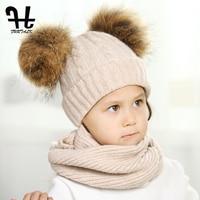 FURTALK Children Wool Winter Hat Scarf Sets Girl And Boy Real Fur Pom Pom Baby Hats