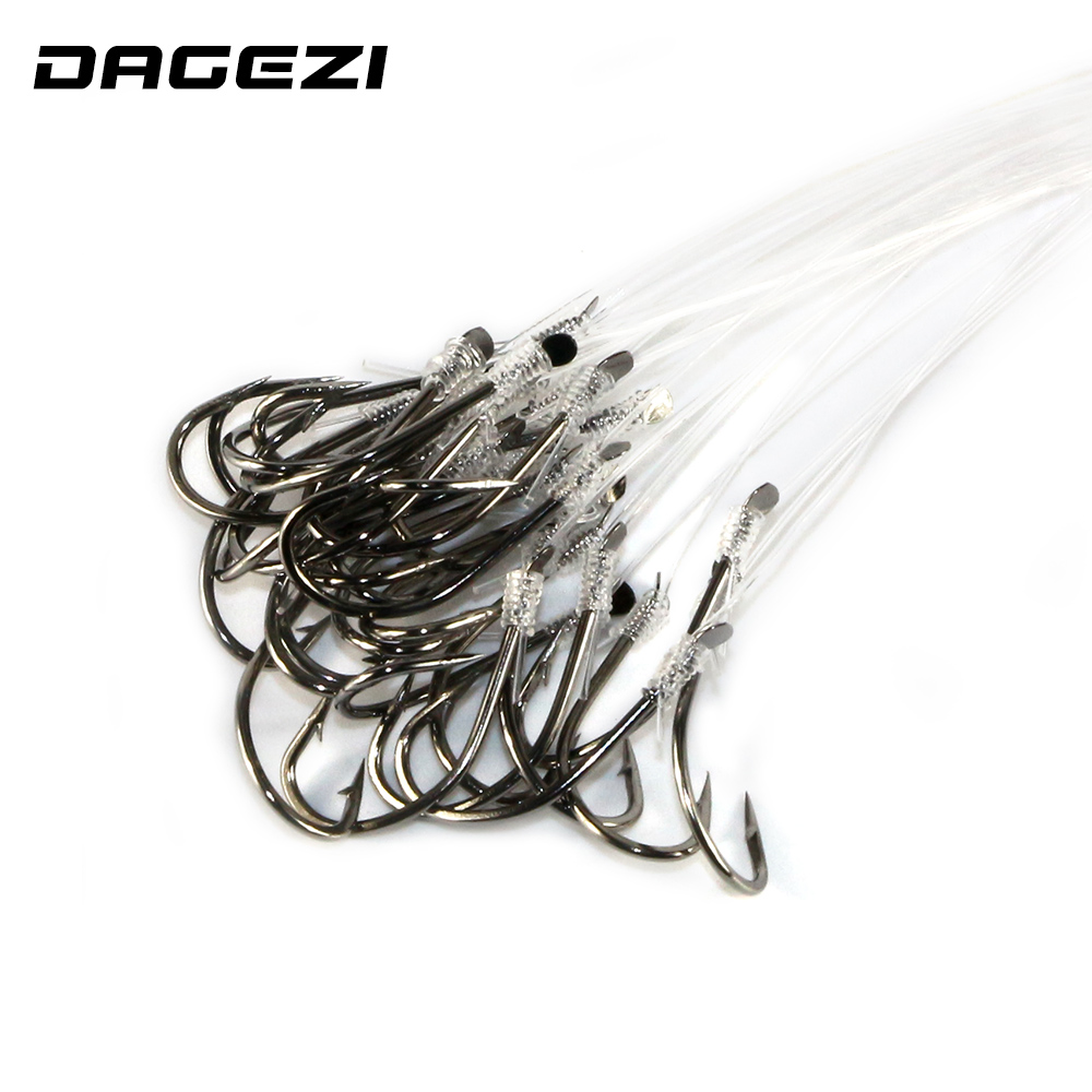 DAGEZI 25pcs Fishing Hook With Fishing Line High Carbon Steel  8-16# Barbed Hooks Pesca Tackle Accessories