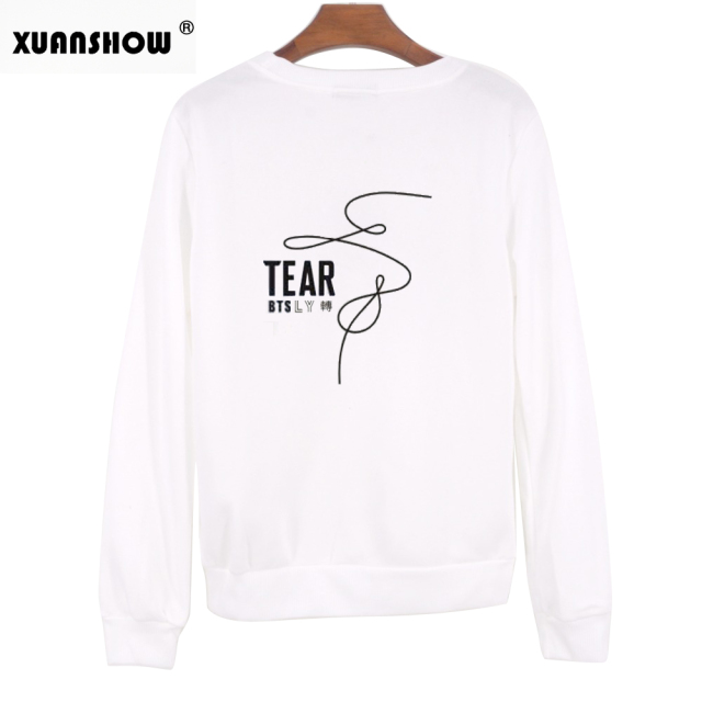 XUANSHOW Fake Love Women Sweatshirt Hoodies BTS Love Yourself Tear Hot Sale Print Girls Cool Sweatshirt Fashion Plus Size S-XXL