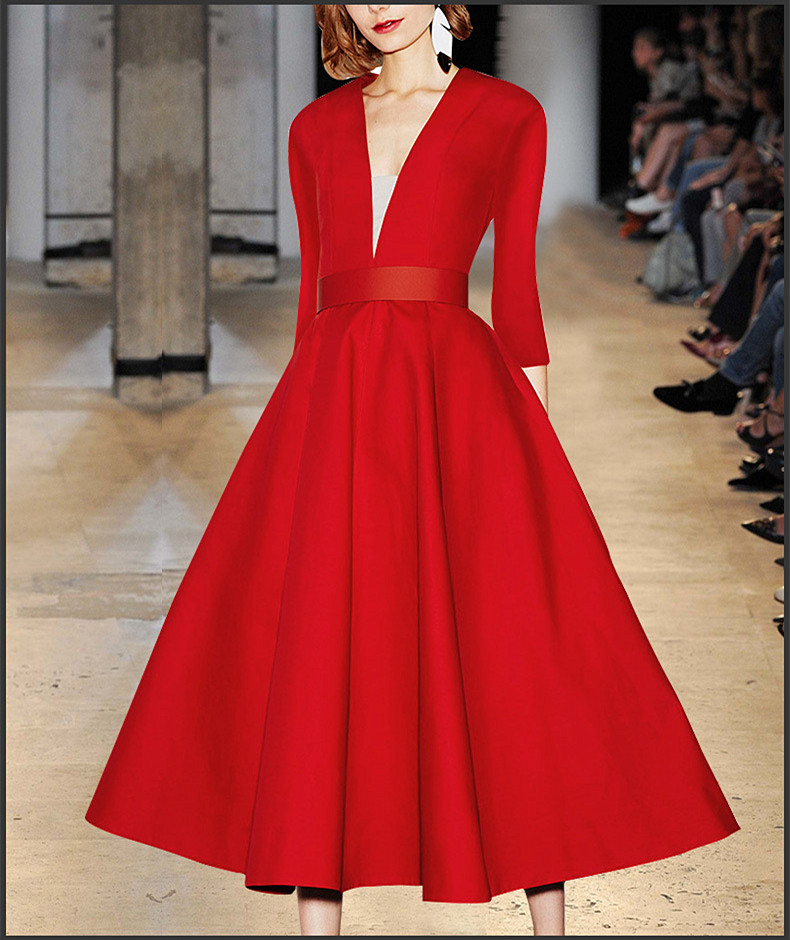 Robe Femme Ete 2018 Spring Red Deep Sexy V Dress Women Vintage Red Dress Empire With Sashes Long Dress ND4545