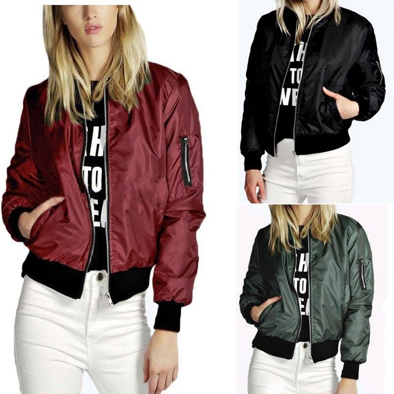 2017 Short Bomber   Jacket   Women Thin Coat Female Solid Plain Plus Size Female   Jacket   Pocket Women   Basic   Coats Jaqueta Feminina