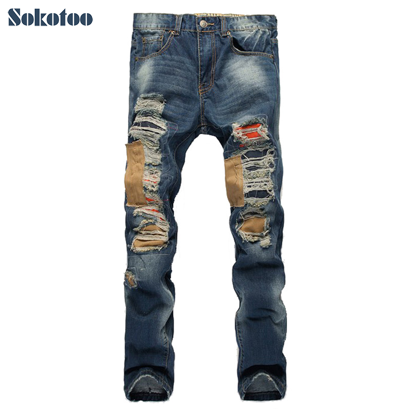 Sokotoo Mens casual patchwork hole ripped jeans Slim straight denim pants Long trousers
