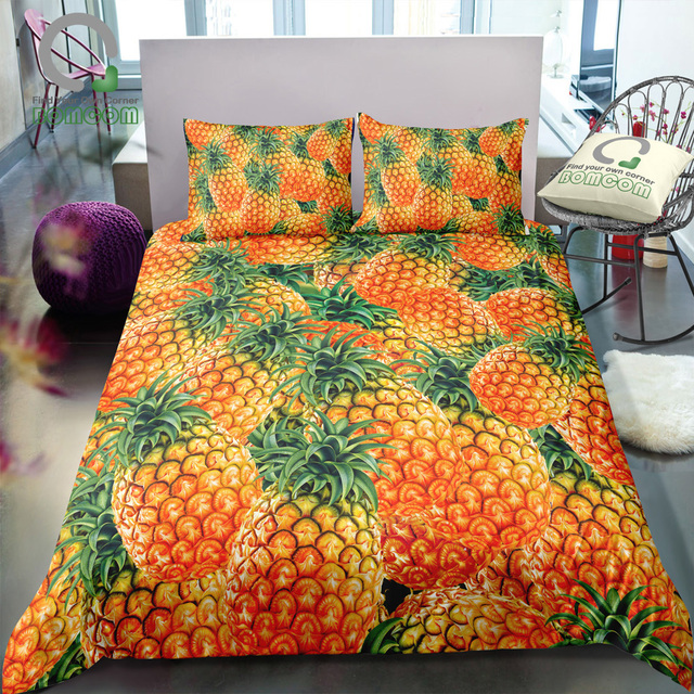 BOMCOM 3D Digital Printing a pile of  tropical fruits great amount fresh mass full pineapple plant Bedding Set 100% Microfiber