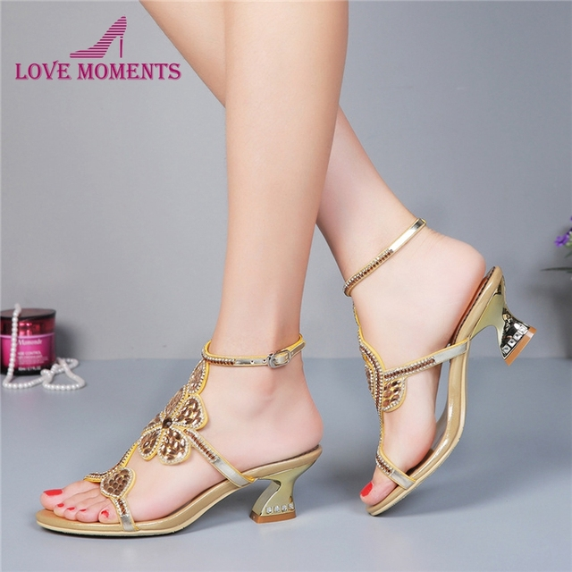 Kitten heel gold rhinestone wedding sandals slingback comfortable kitten heel gold rhinestone wedding sandals slingback comfortable party dancing shoes chunky heel 2 inches summer thecheapjerseys Choice Image