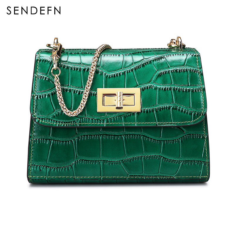 SENDEFN Brand Crocodile Pattern Crossbody Bag Casual Shoulder Bags Women Small Fashion Split Leather Messenger Bags Ladies new small crossbody bag casual shoulder bags women small fashion split leather messenger bags ladies fashion handbag women chain