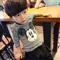 Children S T Shirt Autumn Cotton Long Sleeved Bottoming Shirt Round Neck Striped Fashion Mickey Print