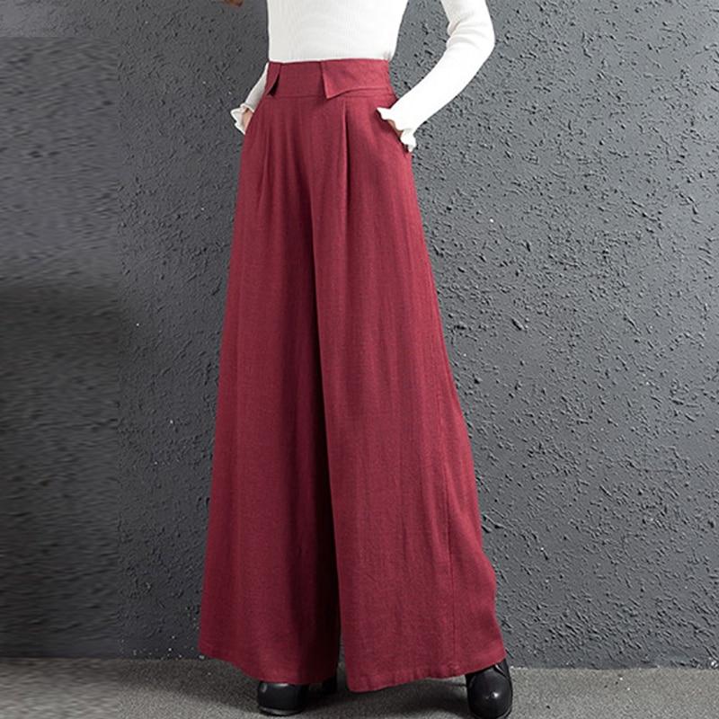 Lino Red Pantalones Alta Negro Primavera Cintura Pierna black De Otoño Casuales Wine green Elástico Vino Ancha Verde Mujer Rojo q4x7ROHaw