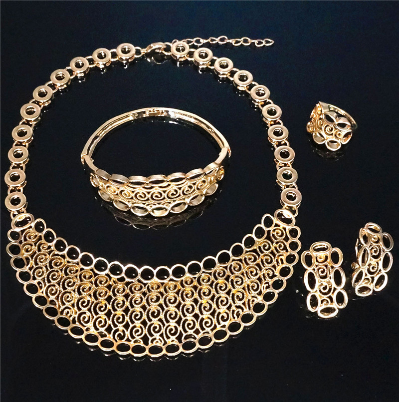big jewelry sets wedding costume jewelry african gold colour jewelry