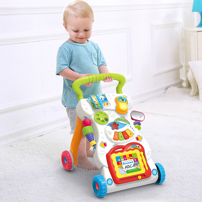 цена Baby Walker Four Wheels Multi-functional Go-cart With Musical Piano Writing Board Early Learning Educational First Step Car