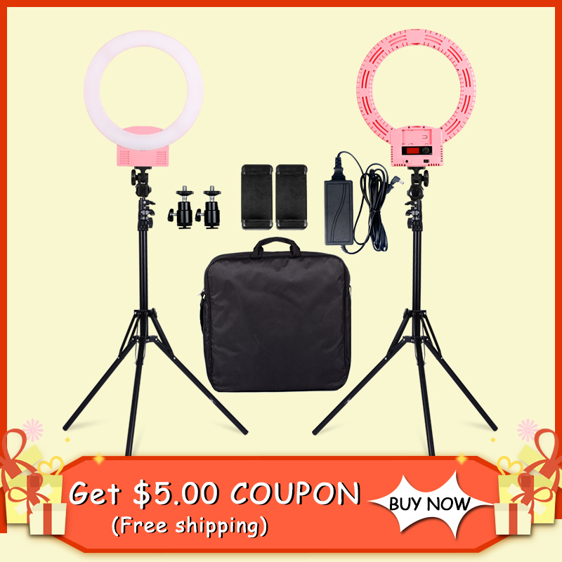 SH Led Éclairage Photographique 3200-5600 k Photo Light Pour Caméra Téléphone Maquillage Photographie Anneau Lumière Selfie Lampe Stand ringlight