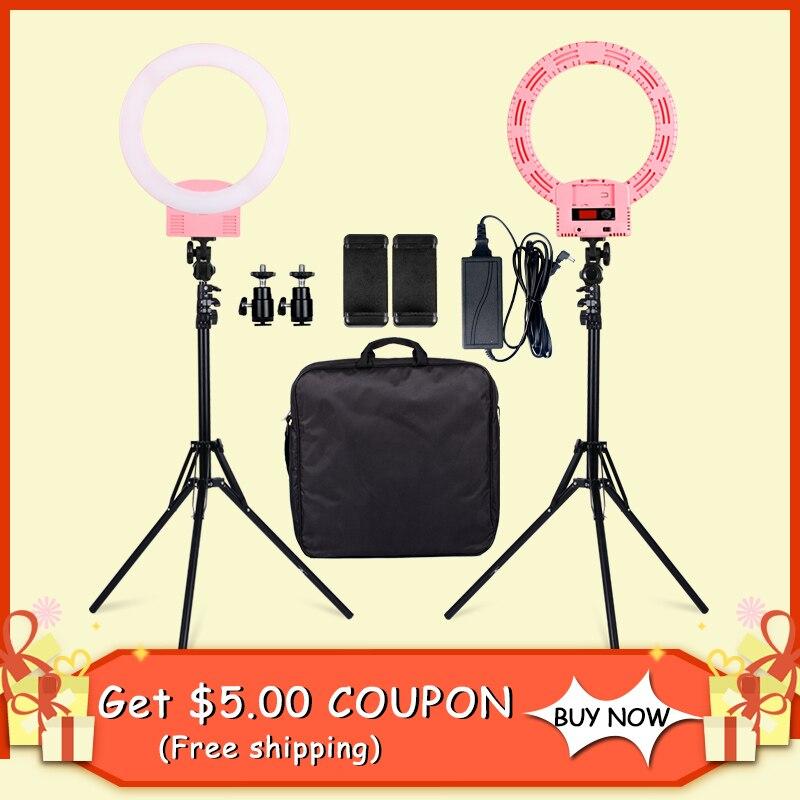 SH Led Photographic Lighting 3200-5600K Photo Light For Camera Phone Makeup Photography Ring Light Selfie Lamp Stand Ringlight кольцо для селфи selfie ring light на батарейке белое