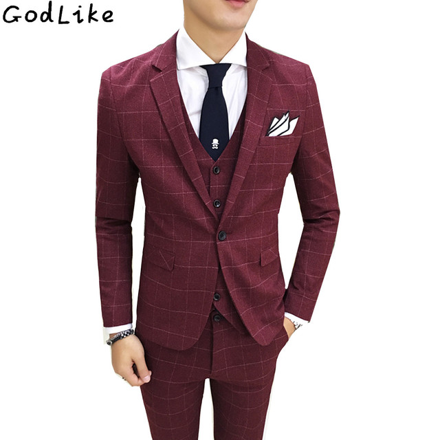 2018 New Tweed Men Suits Plaid Terno Wedding Suit One Buttons Groom Tuxedos Tailored Wool Suits Custom Made (Jacket+pants+vest)