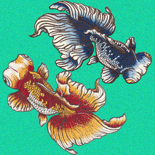 1pc Fashion Big Golden Fish Applique Embroidered Sew on Patches For Clothes Bag High Quality Sticker Diy Decoration Repair