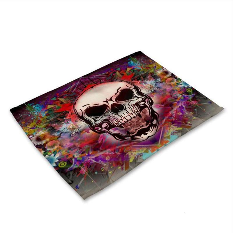 Color skull printing Cotton Linen Western Pad Placemat Insulation Dining Table Mat Anti-skid Coasters Kitchen Accessories 3