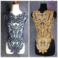 La belleza ouro/preto frisado bonito grande peça artesanal pérolas cristal strass remendo vestido de casamento applique acessórios