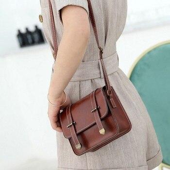 e2d7abbf4e3e 2019 новая женская сумка модная Ретро сумка Универсальная кожаная маленькая  квадратная сумочки, сумки через плечо для женщин сумка-мессендже.