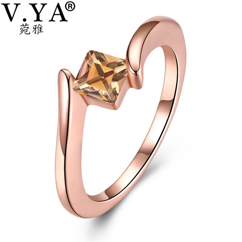 V. Я Блестящий Квадрат желтый кристалл кольцо для Для женщин розового золота кольца обещание Bijoux Femme Модные украшения