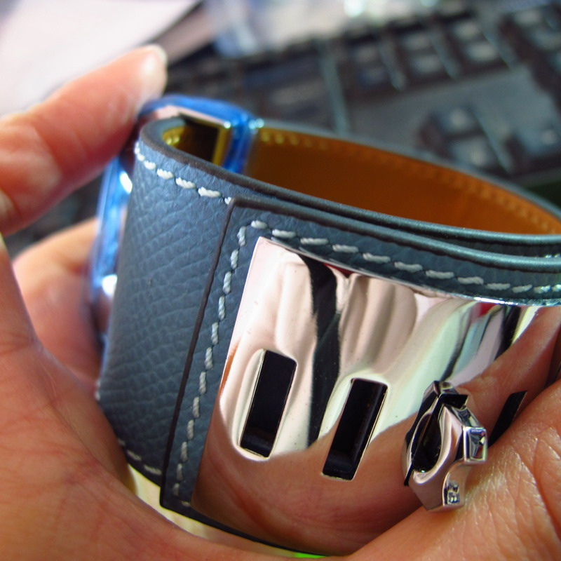 Wide Genuine leather bangle bracelets 316L stainless steel punk jewelry for women