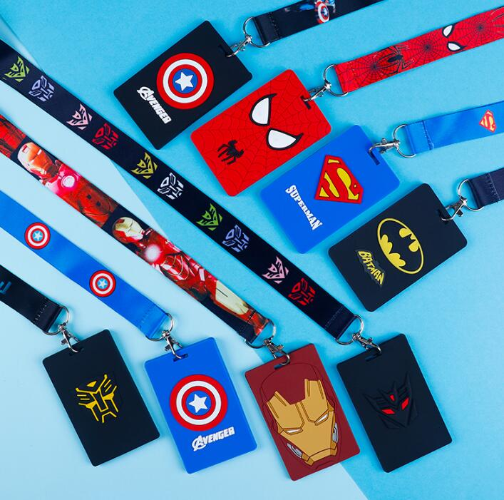 1pcs Avengers Batman Spiderman Captain America Pvc Named Card Holder Identity Badge With Lanyard Neck Strap Card Bus ID Holders