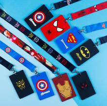 1 pcs avengers batman spiderman Captain America pvc Genoemd Kaarthouder Identiteit Badge met Lanyard Neck Strap Card Bus ID houders(China)