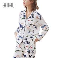 Animals Woman Full Pajama Set 100% Cotton Colorful White Cardigan Button Spring Autumn Winter Home Clothings Cure Female Pyjamas