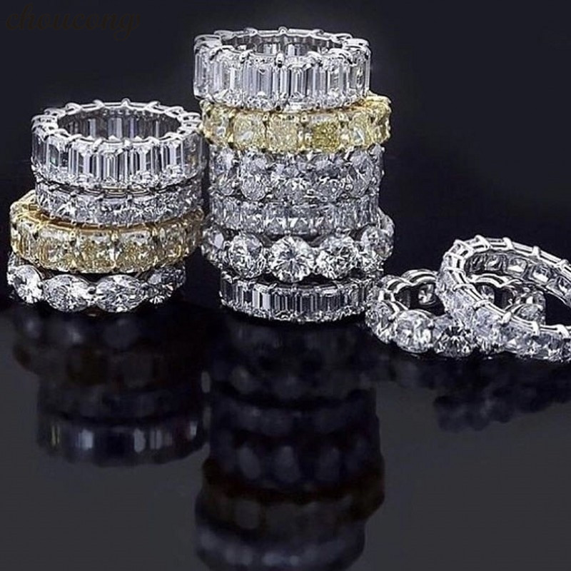 Choucong 18 estilos de la eternidad anillo de promesa AAAAA Cz de la plata esterlina 925 declaración boda banda anillos para las mujeres hombres regalo de la joyería