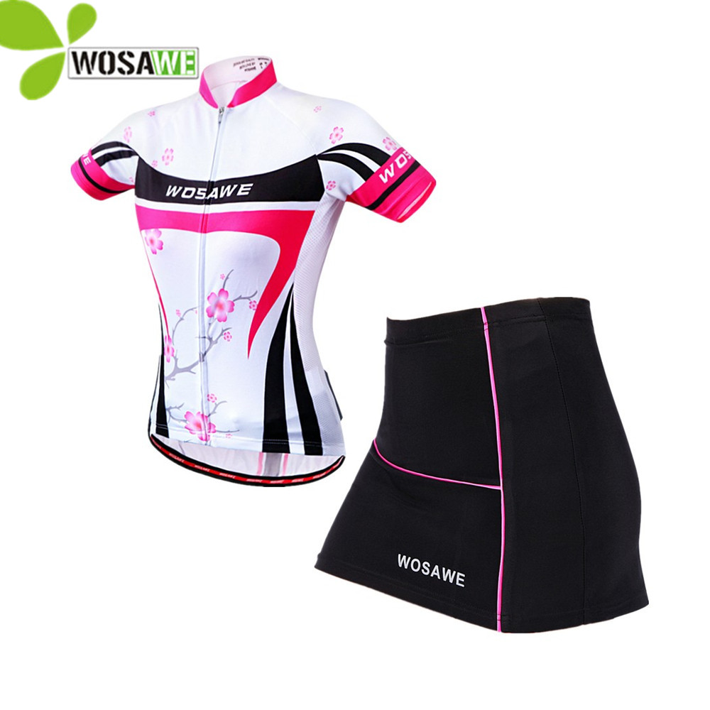 WOSAWE Women Summer Short Sleeve Cycling Sets Jersey GEL Pad Skirt Breathable Uniforms Sports Shirts Suit Ciclismo Clothing