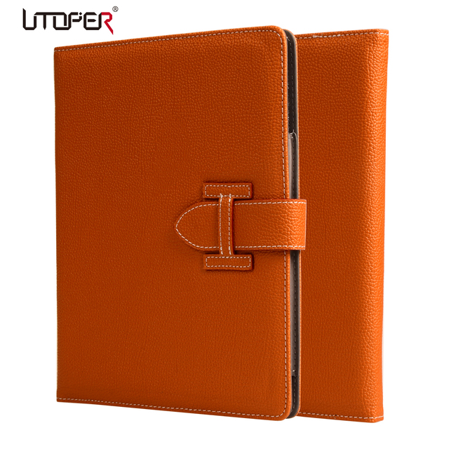 Luxury Litchi Pattern Smart PU Leather Cover for ipad 2 ipad 3 4 Retina Sleep Wake Up With Belt Handhold Stand Skin Pouch Case