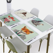 Animal Napkin Tea Towel Bear Deer Owl Dog Mr.Animal 43*32 Cm Linen Napkins For Wedding Paper Napkin
