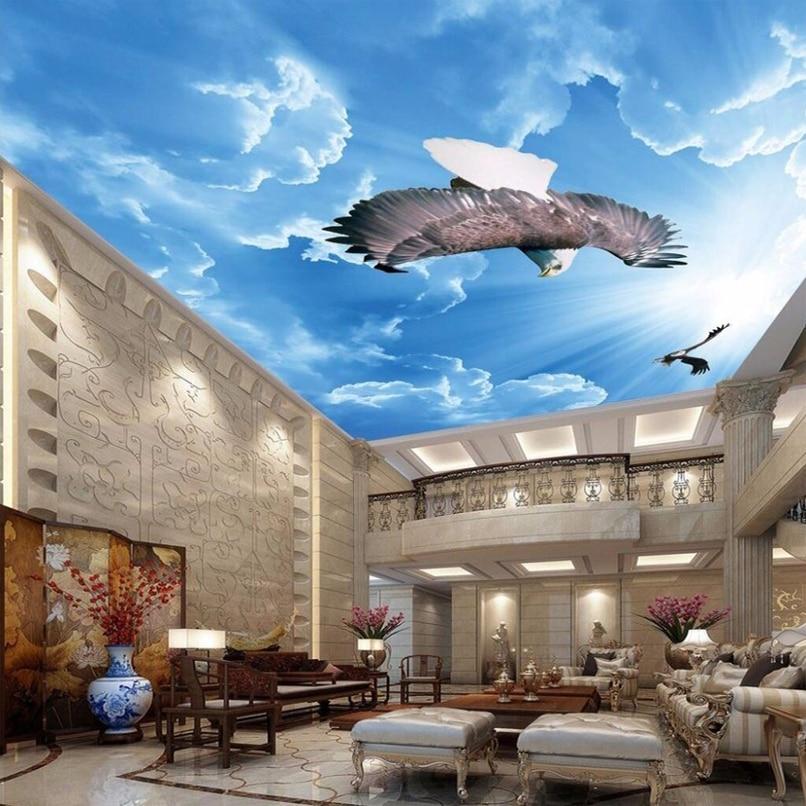 Customized Any Size 3D Mural Wallpaper Blue Sky Eagle Ceiling Art Mural Living Room Study Bedroom Ceiling Wallpaper De Parede 3D