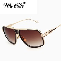 WHO CUTIE 18K Gold Plated Square Brad Pitt Style Men Sunglasses 2017 Trends Flat Top Luxury