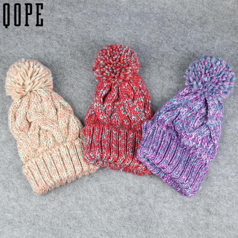mujeres de invierno gorros casuales sombreros del ganchillo gorro de lana de tejer grandes pompones bola