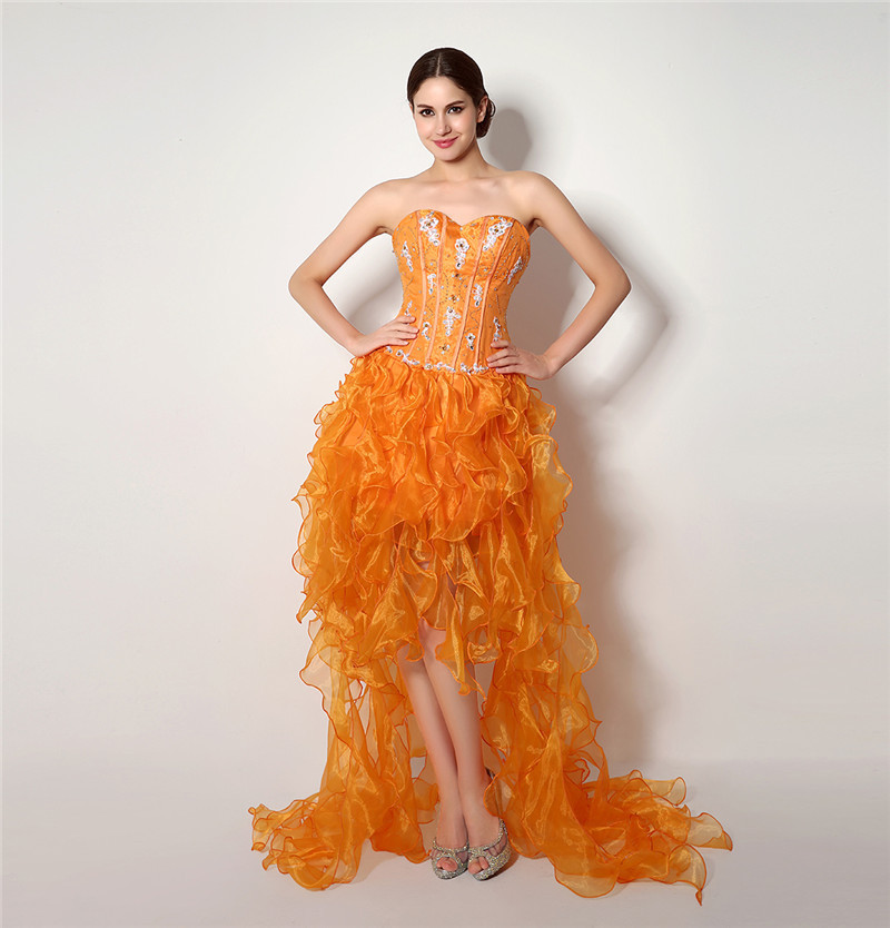 100 Real Photos Sexy Orange Color Ruffles High Low Prom Dress