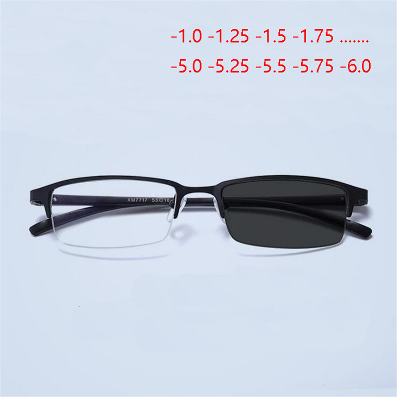 Aluminum Magnesium Half Frame Photochromism Prescription Glasses Chameleon Myopia Glasses With Degree -1.0 -1.25 -1.5 To -6.0
