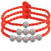 Kabbalah Red Rope String Bangle Bracelets S925 Silver Lucky Bead Buddhist Jewelry Red Thread String Bracelet For Women Men Gift(China)