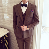 2018 Spring And Summer New Youth Suit Men's Three piece Professional Business Casual Handsome Slim Tide Fashion Simple