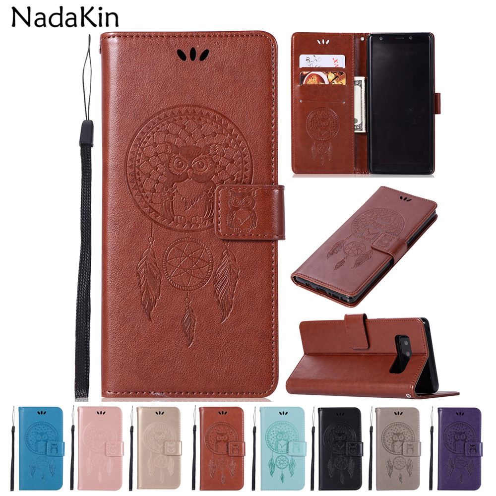 Owl Leather Case for Samsung Galaxy S6 S7 Edge S8 S9 Plus Note 5 8 A3 A5 A7 2016 2017 A8 Plus 2018 Xcover 4 Wallet Flip Cover