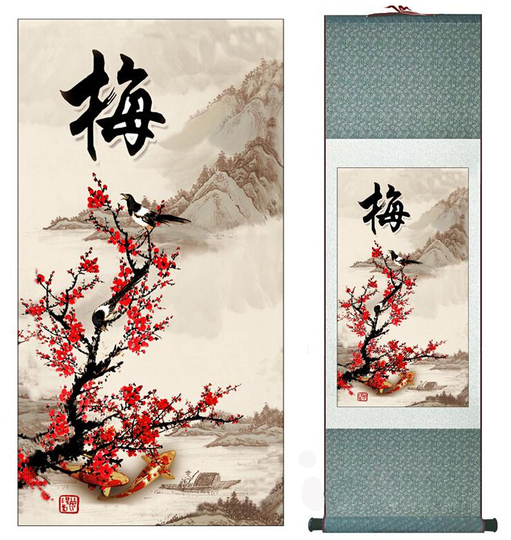 super berkualiti Tradisional Chinese Art Painting Home Office Decoration Chinese painting birds with plum blossomCetakan lukisan
