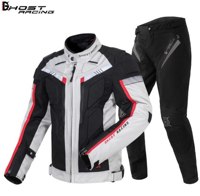 GHOST RACING Motorcycle Jacket Men Waterproof Moto Riding Protective Gear Autumn Winter Racing Motorbike Clothing