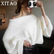 [Xitao] 2017 Корея Новая осень Для женщин Сплошной Цвет Flare рукавом пуловер Свитеры для женщин женские длинный рукав Slash Средства ухода за кожей Шеи Свитеры для женщин CXB793