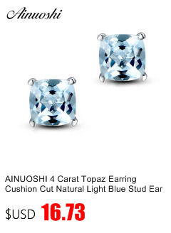 AINUOSHI Brand Sparkling Square Stud Earring Asscher Cut Sona Diamond Pure 925 Sterling Silver Shining Earring Lady Jewelry Gift
