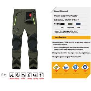 Image 4 - Мужские флисовые наружные брюки большого размера плюс, зимние треккинговые рыбацкие брюки, теплые туристические брюки для походов, лыж, бесплатная доставка