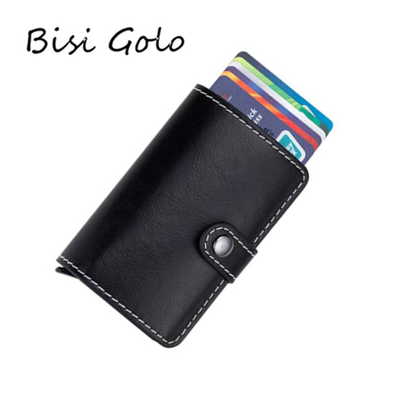 BISI GORO Metall Karte Halter RFID Karte ID Halter Aluminium Legierung Kreditkarte Halter Brieftasche Diebstahl Automatische Pop Up Karte fall