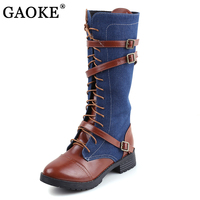 GAOKE Women Motorcycle Boots Buckle Thick Heels Knee High Boots Women Soft Denim Winter Boots Female