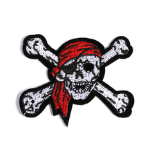 1PC Patches For Clothing Pirate Skull Embroidery Big Size 10.0×7.5cm Patches For Apparel Bags DIY Accessories