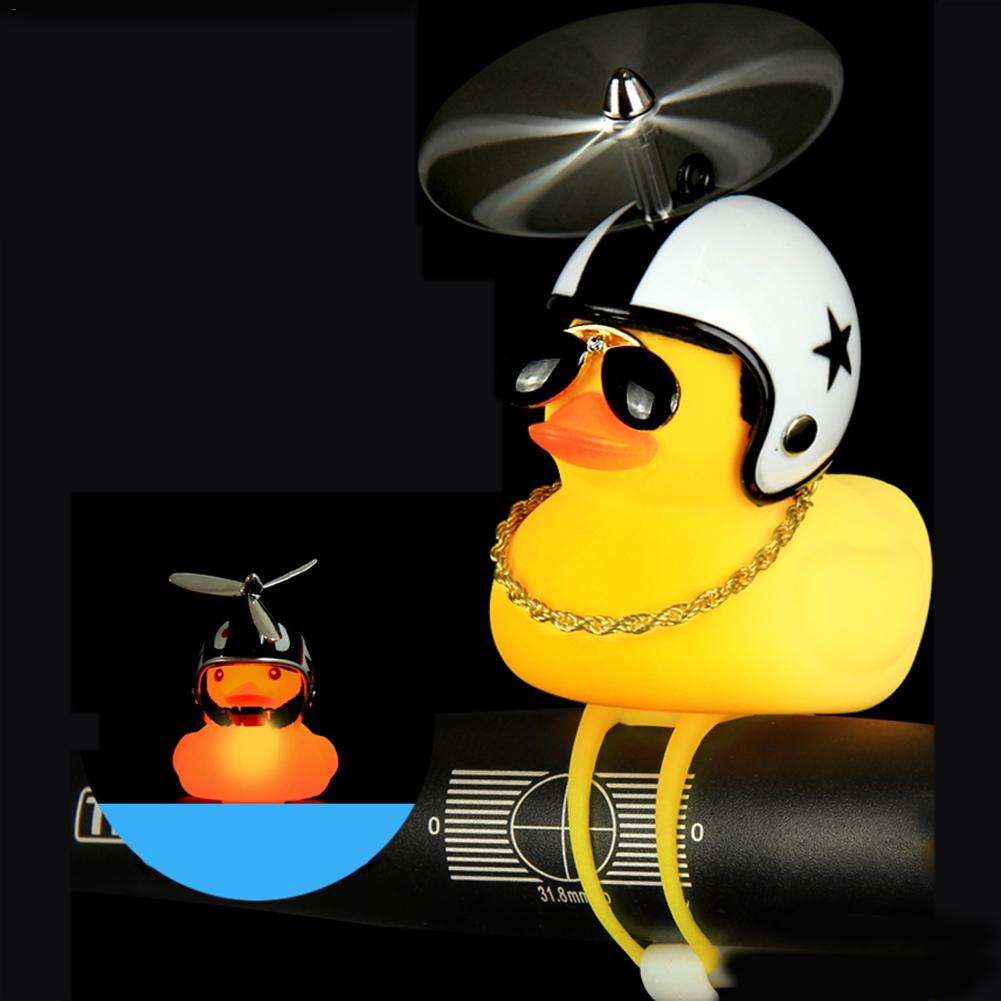 Duck Wearing a Helmet Shape Horn Bicycle Motorcycle Spiderman Ironman Lamp Toy