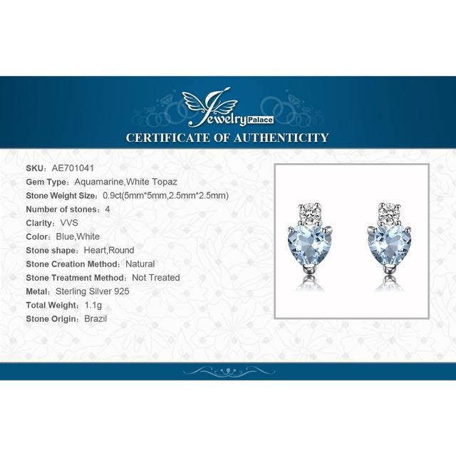 Natural Aquamarine Heart Stud Earrings