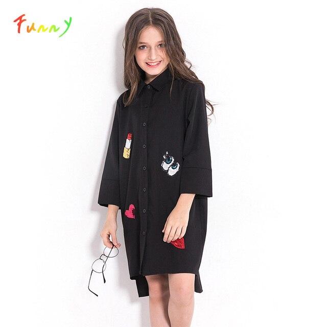 فستان بناتي للأطفال المراهقات فستان شيفون أسود غير رسمي للخريف بأكمام طويلة مطرز بالترتر للأطفال ملابس للبنات 8 10 12 سنة