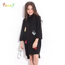 Dla dzieci Girls Dress dla nastolatek na co dzień czarny szyfonowa koszula sukienka jesień z długim rękawem z cekinami dzieci dziewczyny ubrania 8 10 12 lat
